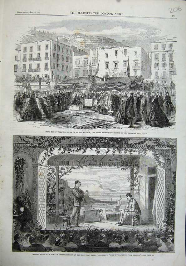 Print 1863 Christ Church Naples Egyptian Hall Piccadilly 206N115 Old Original