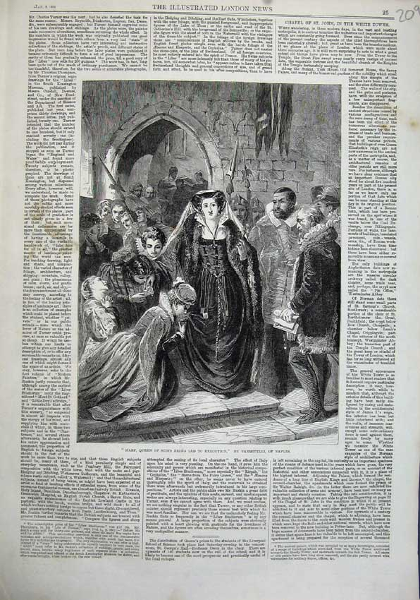 Print 1863 Mary Queen Scots Being Led Execution Vanmitelli 209N115 Old Original