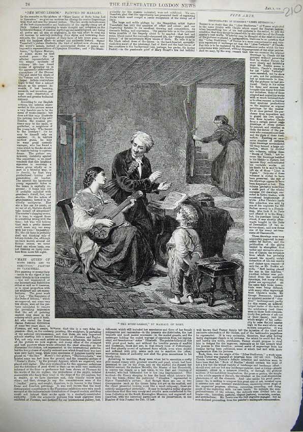 Print Music Lesson Man Woman Guitar 1863 Mariani Rome Art 210N115 Old Original