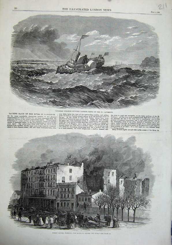 Print 1863 Canadian Ship Lachine Rapid Rossin House Toronto 211N115 Old Original