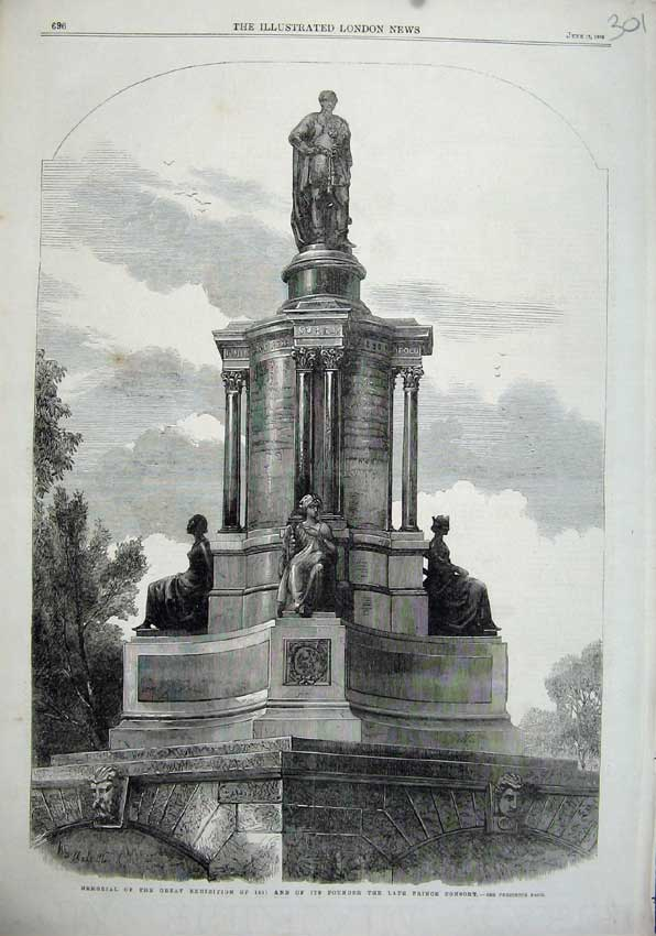 Print 1863 Memorial Great Exhibition Prince Consort Statue 301N115 Old Original
