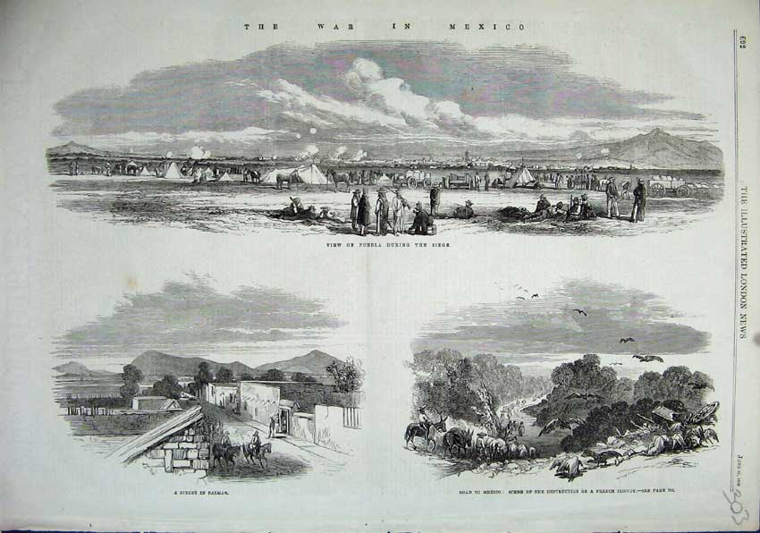 Print War Mexico 1863 Puebla Palmar Street French Convoy 303N115 Old Original