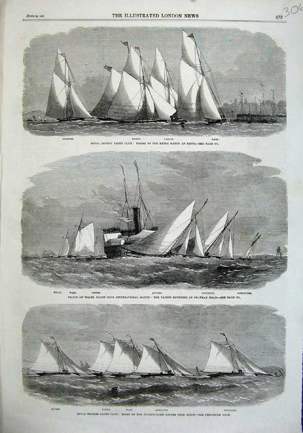Print 1863 London Yacht Club Emmet Bessie Quiver Glimpse Wasp 306N115 Old Original