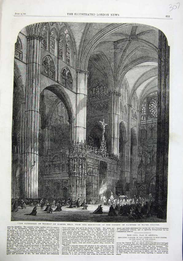 Print 1863 Cathedral Toledo Samuel Read Interior Procession 307N115 Old Original