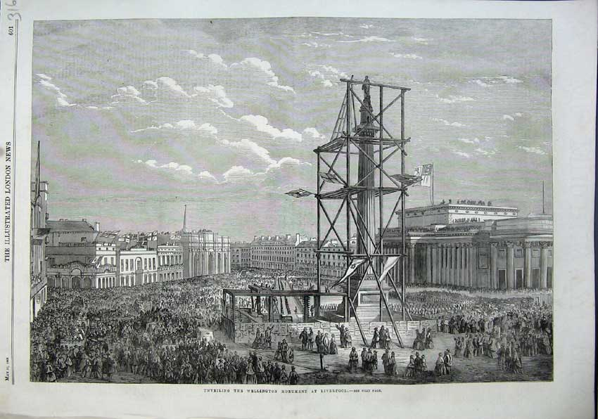 Print 1863 Unveiling Wellington Monument Liverpool Statue 316N115 Old Original