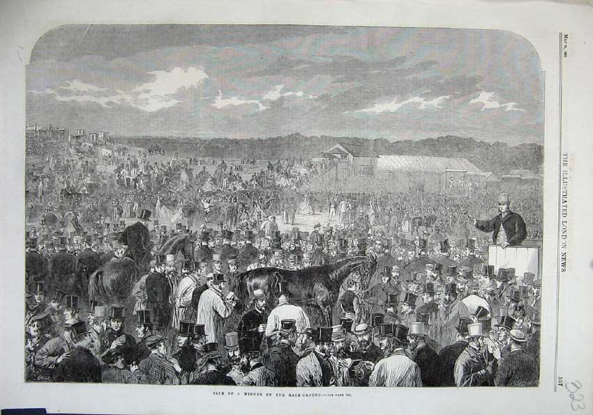 Print 1863 Sale Winner Race Ground Horses Sport Men 323N115 Old Original