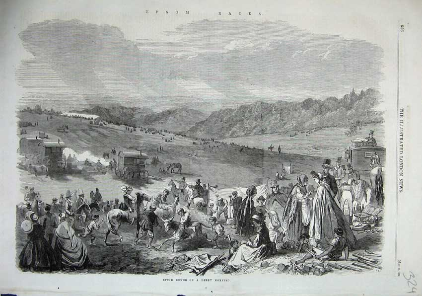 Print 1863 Epsom Downs Derby Horse Racing Sport Mountains 324N115 Old Original