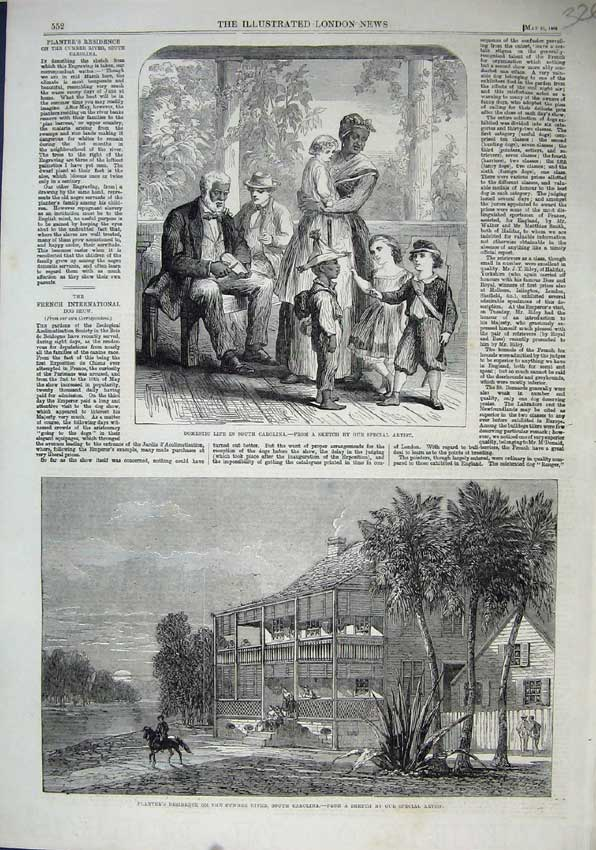 Print Family Life South Carolina 1863 Planter'S Cumbee River 326N115 Old Original