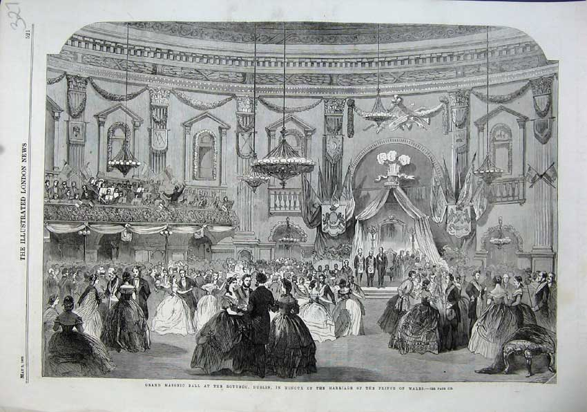 Print 1863 Masonic Ball Rotundo Dublin Marriage Prince Wales 327N115 Old Original