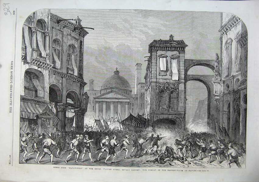 Print 1863Masaniello Royal Italian Opera Covent Garden Naples 329N115 Old Original