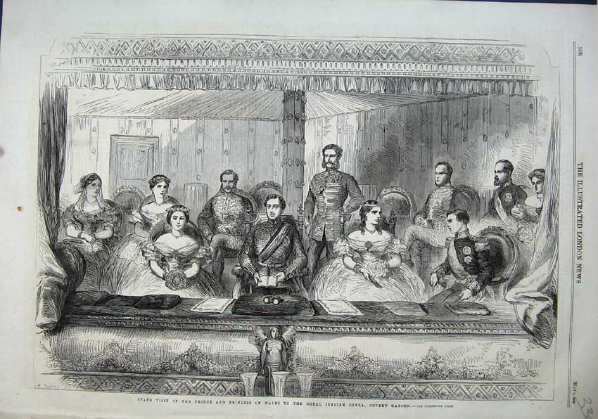 Print 1863 Prince Wales Royal Italian Opera Covent Garden 330N115 Old Original