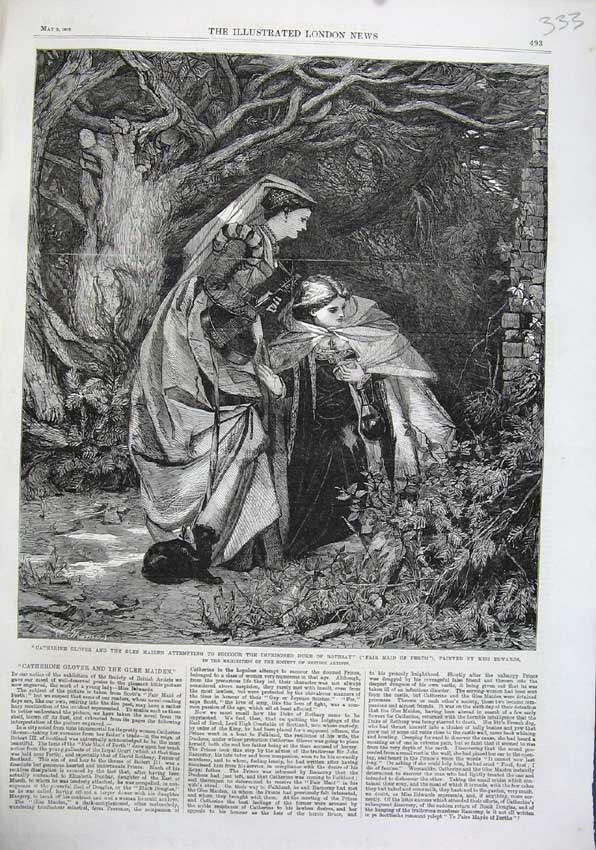 Print 1863 Catherine Glover Glee Maiden Duke Rothsay Edwards 333N115 Old Original