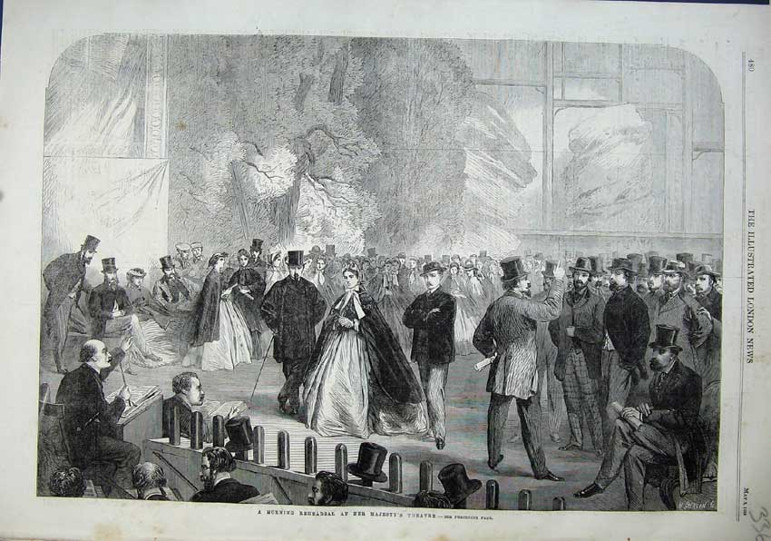 Print 1863 Morning Rehearsal Majesty Theatre Men Women 336N115 Old Original