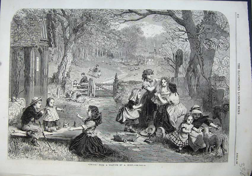 Print 1863 Spring Garden Children Playing Lamb Sheep Trees 338N115 Old Original