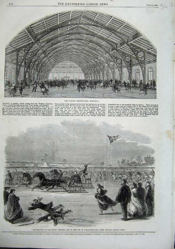 Print 1863 Victoria Skating-Rink Montreal Burlington Canada 340N115 Old Original