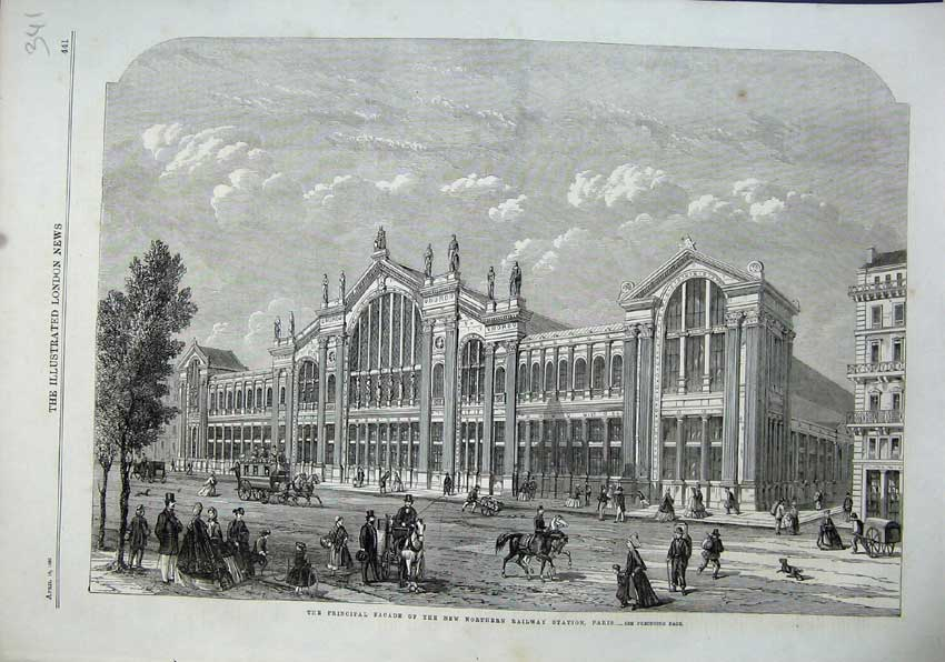 Print 1863 Fa�ade New Northern Railway Station Paris Horses 341N115 Old Original