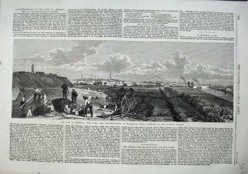 Print 1863 War America Town Fortifications Savannah Men 342N115 Old Original