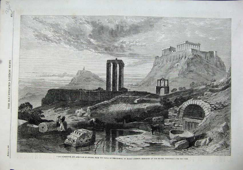 Print 1863 Olympaeum Acropolis Athens Ilissus Harry Johnson 349N115 Old Original