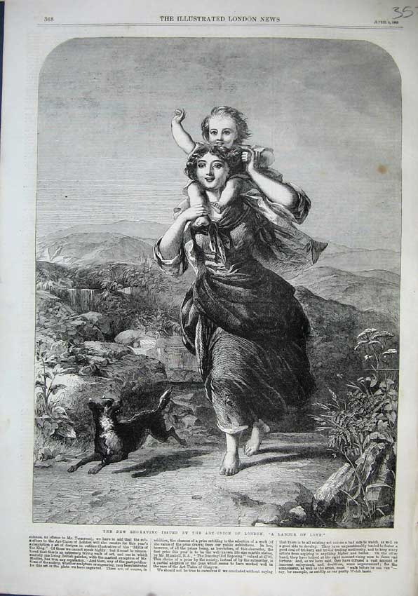 Print 1863 Labour Love Woman Carrying Child Girl Dog Hills 352N115 Old Original