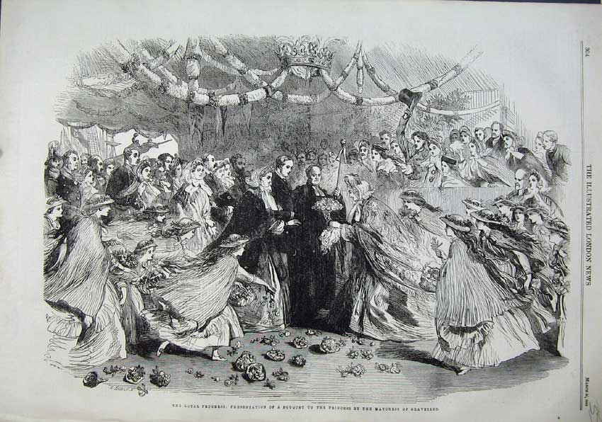 Print 1863 Royal Queen Bouquet Princess Mayoress Gravesend 355N115 Old Original