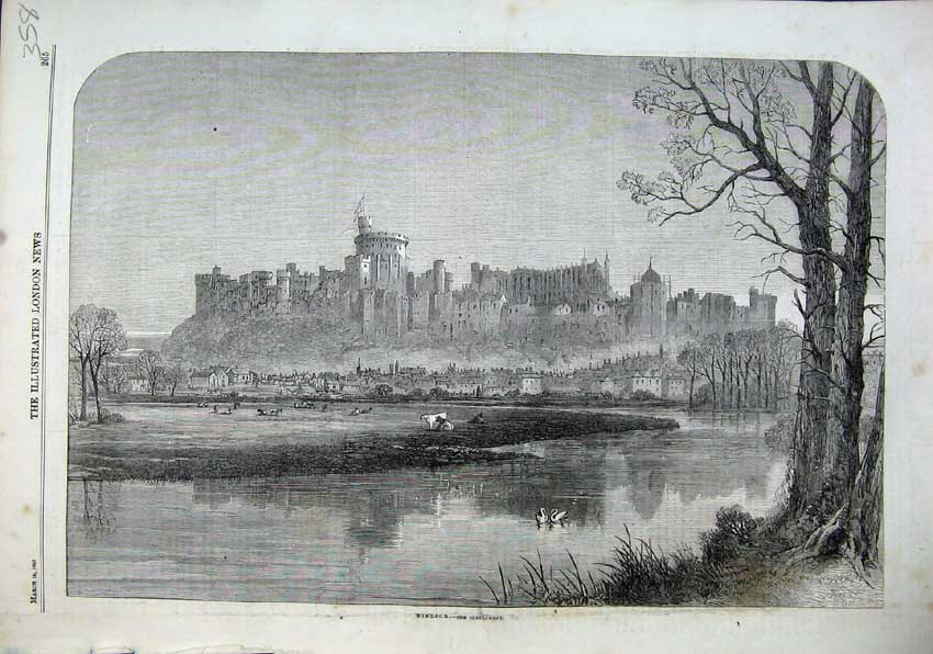 Print 1863 Windsor Castle Queen Town Houses Lake Swan Cows 358N115 Old Original