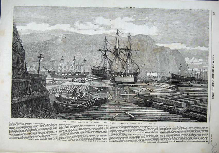 Print 1863 Canadian Lumber Trade Timber Coves Quebec Ships 363N115 Old Original