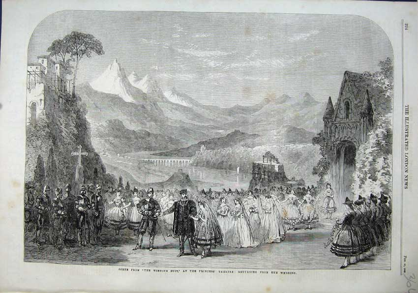 Print 1863 Scene Winning Suit Princess Theatre Wedding Hills 364N115 Old Original