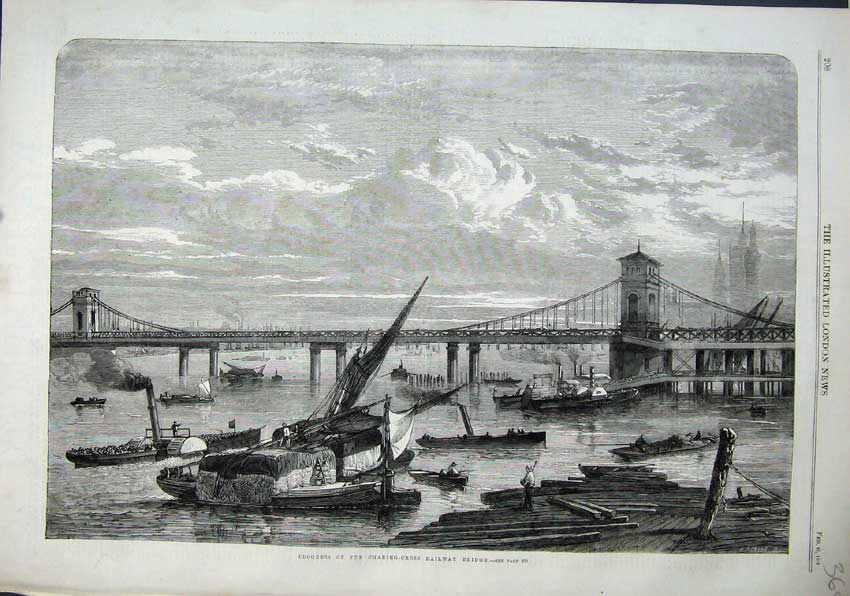 Print 1863 Charing Cross Railway Bridge Train Steamer Boats 368N115 Old Original
