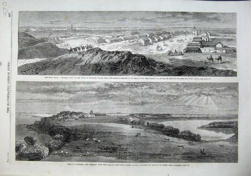 Print 1863 Suez Canal Town El-Girsh Auckland New Zealand Lake 370N115 Old Original