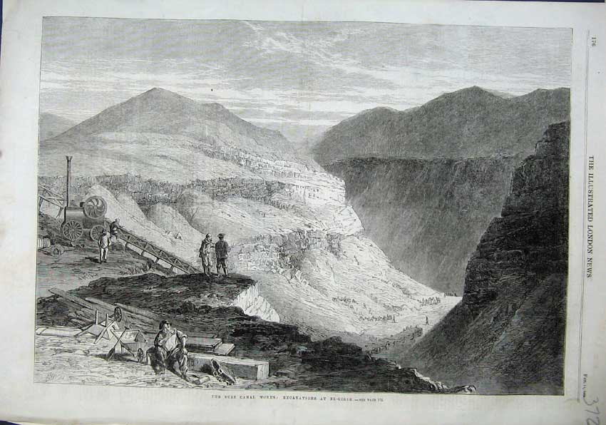 Print 1863 Suez Canal Works Excavations El-Girsh Mountains 372N115 Old Original