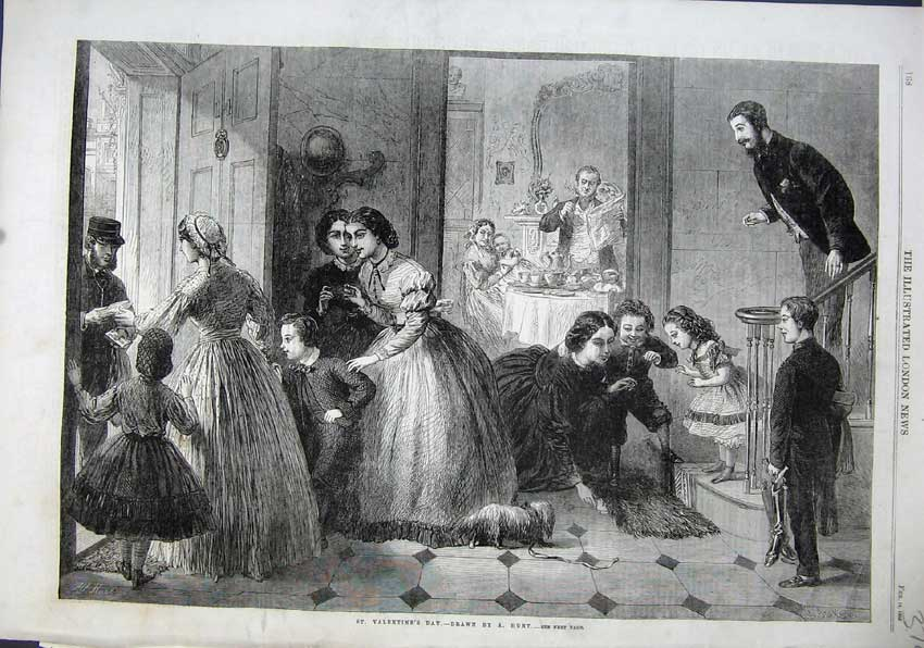 Print 1863 St Valentines Day Women Children Postman House 374N115 Old Original