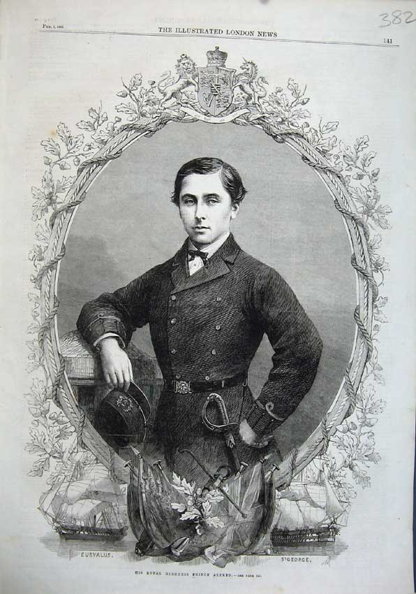 Print 1863 Portrait His Royal Highness Prince Alfred Man 382N115 Old Original