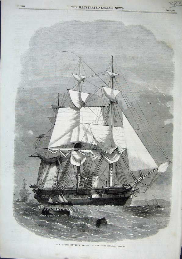Print 1863 H. M. Steam-Corvette Racoon Guns Sailing Ship Boat 383N115 Old Original