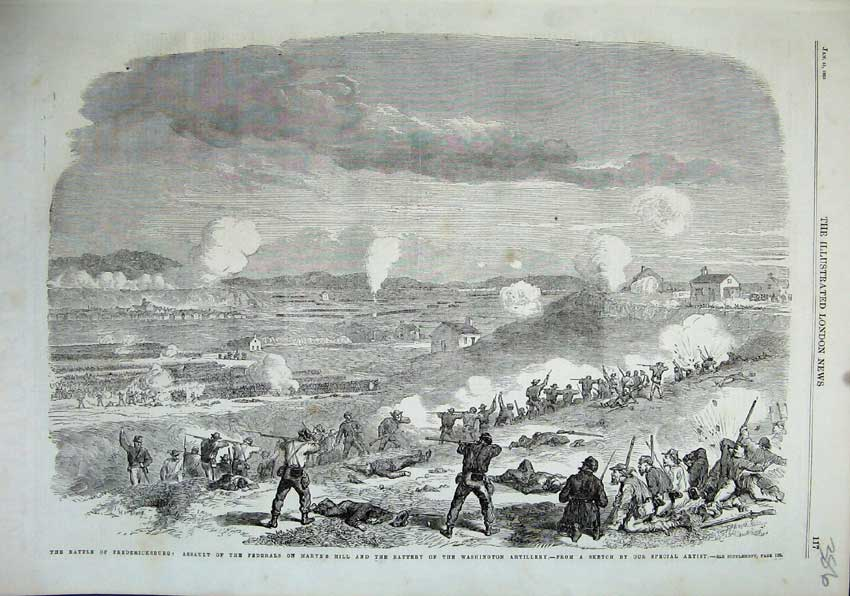 Print 1863 Battle Fredericksburg Federals Marye'S Hill Rifles 386N115 Old Original