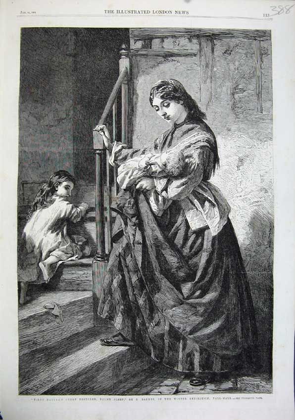 Print 1863 Stairs Woman Child Baby Bedtime Barnes Pall Mall 388N115 Old Original