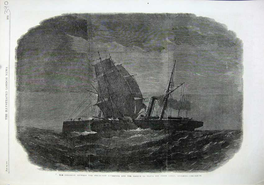 Print 1863Collision Between Steam-Ship Liverpool Barque Plata 390N115 Old Original