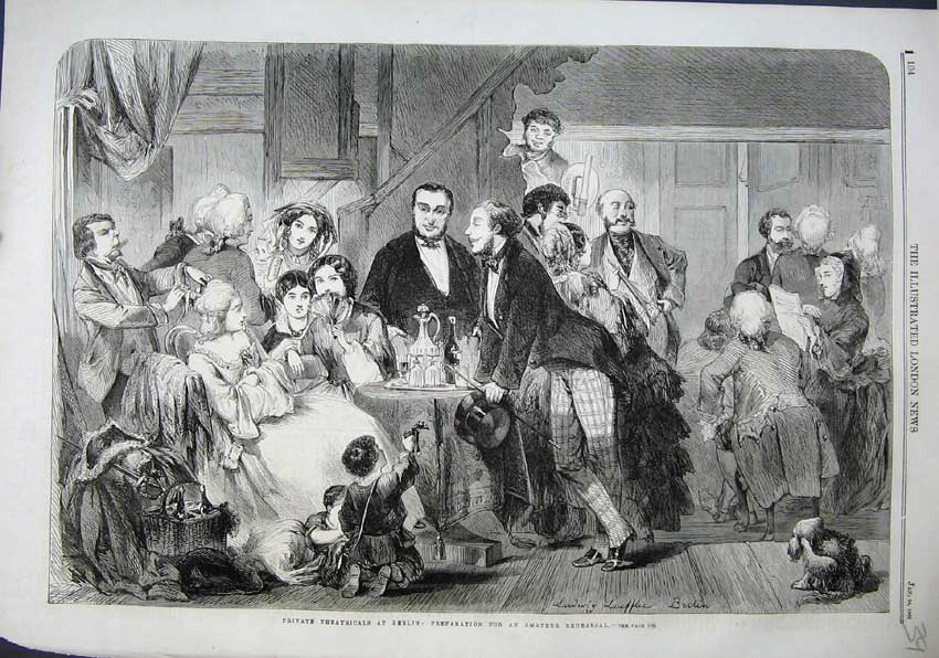 Print 1863 Theatricals Berlin Amatuer Rehearsal People Table 391N115 Old Original