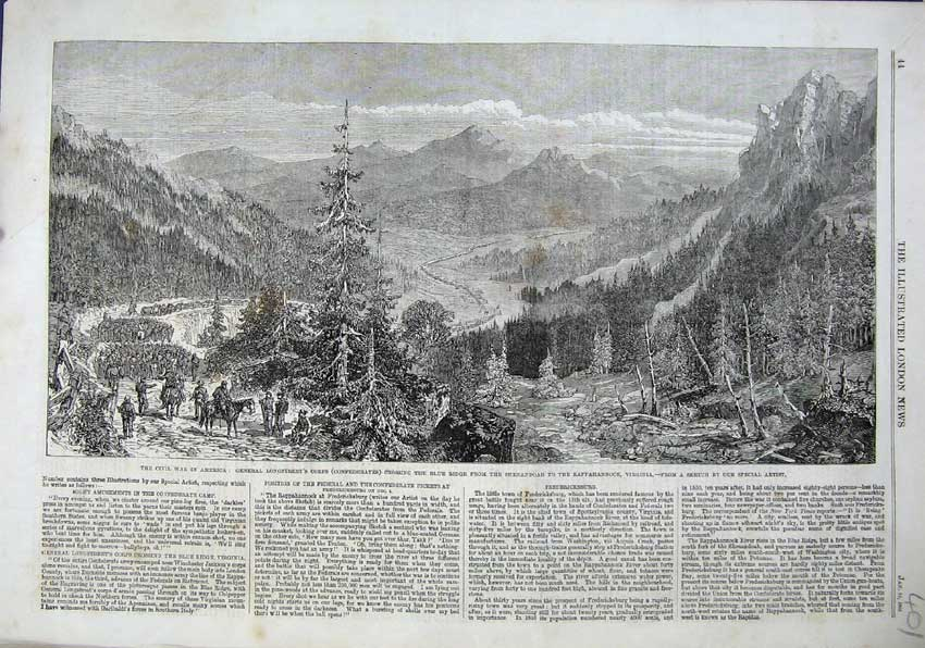 Print 1863 Civil War America Blude Ridge Longstreet Virginia 401N115 Old Original
