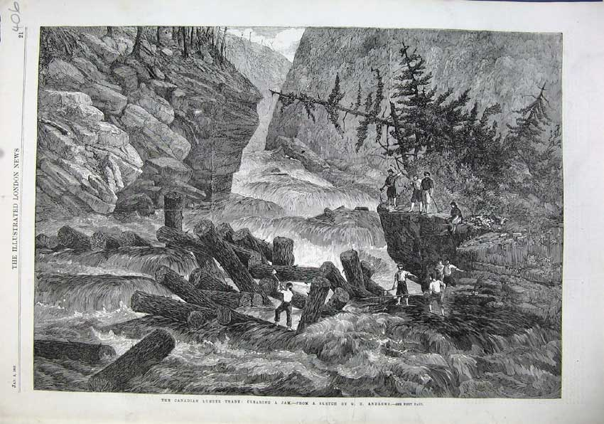 Print 1863 Canadian Lumber Trade Clearing Jam River Waterfall 406N115 Old Original