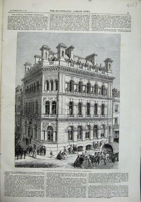 Print 1863 Offices National Provident Institution Eastcheap 407N115 Old Original