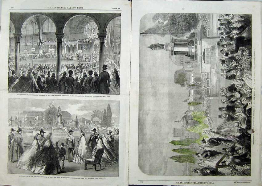 Print 1863 Memorial Exhibition Royal Party Horticultural King 502Tn115 Old Original