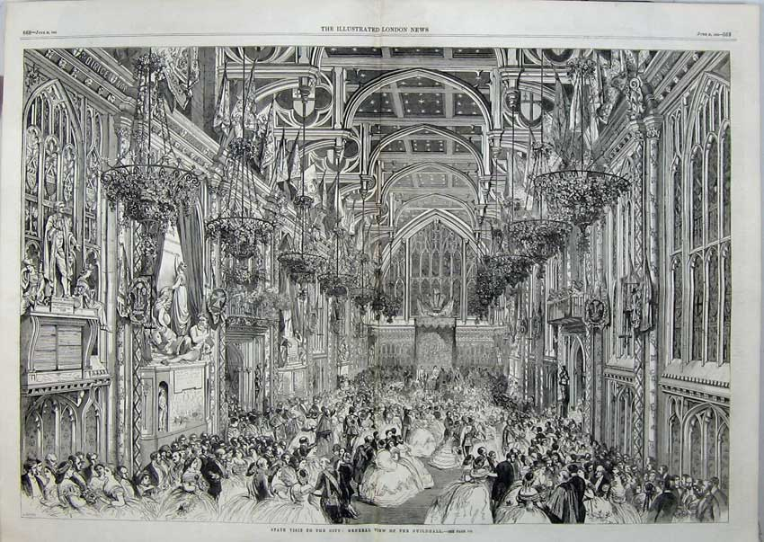 Print 1863 State Visit City London Queen Guildhall Dancing 503Tn115 Old Original