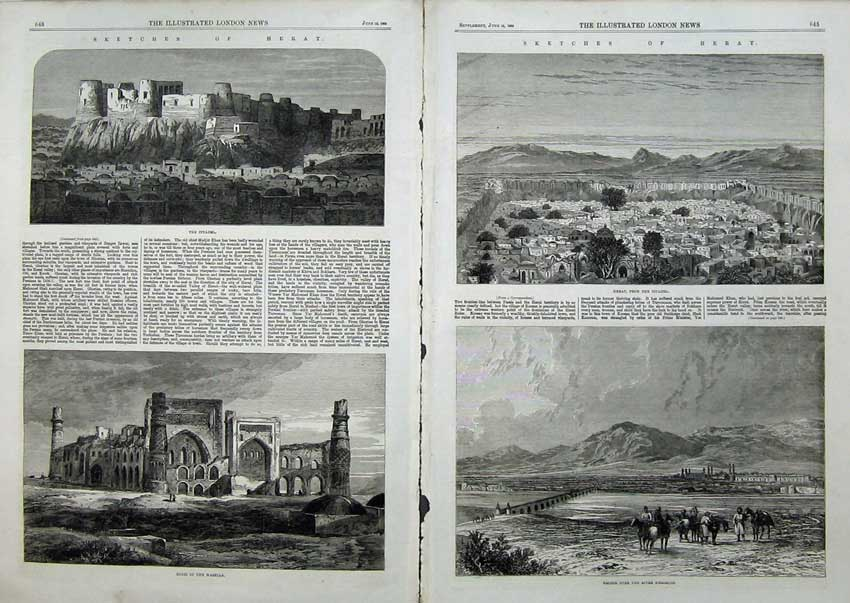 Print Heart 1863 Bridge River Herirood Citadel Ruins Masella 506Tn115 Old Original