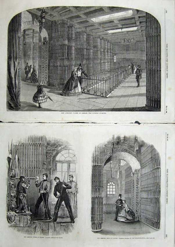 Print 1863 Armoury Tower London Council Chamber Rifles Racks 508Tn115 Old Original