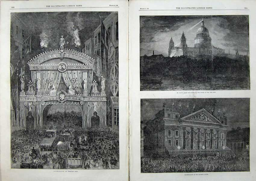 Print 1863 Illumination Temple Bar Mansion House Cathedral 513Tn115 Old Original