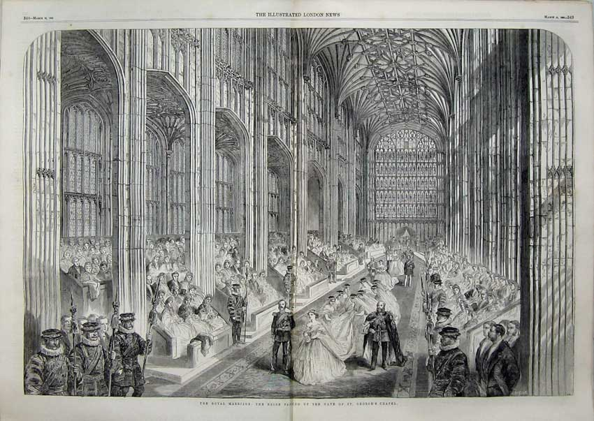 Print Royal Marriage 1836 Bride Nave George'S Chapel Church 514Tn115 Old Original
