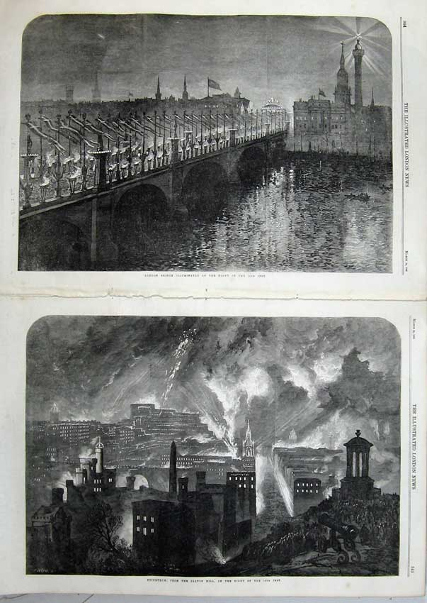 Print 1863 London Bridge Illuminations Edinburgh Calton Hill 515Tn115 Old Original