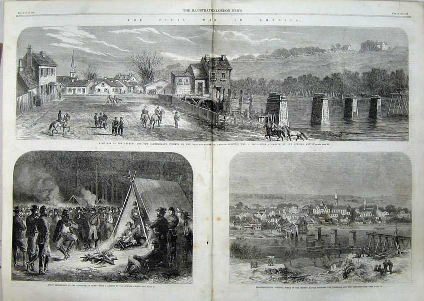 Print 1863 War America Fredericksburg Civil War Camp 533Tn115 Old Original
