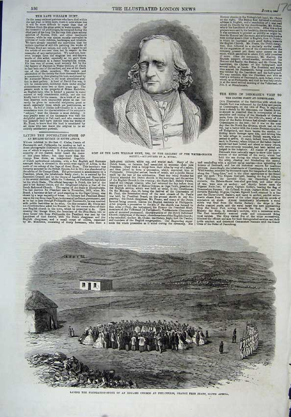 [Print 1864Bust William Hunt English Church Philippolis Africa 170N117 Old Original]