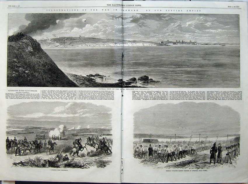 [Print 1864 War Denmark Duppel Redoubts Prussian Infantry Army 519Tn117 Old Original]